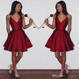 Wholesale Simple Short Cheap Homecoming Dresses - Simple Cheap Dark Red Homecoming Dresses 2017 Spaghetti Straps Short Prom Dress Satin Mini Graduation Dress Party Gown