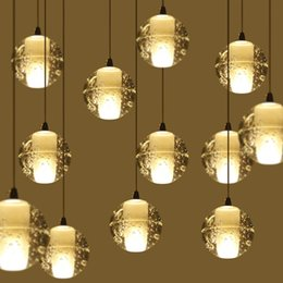 Wholesale Round Glass Lighting Pendants - G4 crystal chandeliers round Chandeliers Glass Ball for pendant lighting AC110V Ceiling Lights square crystal light wall