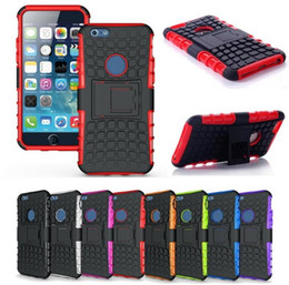 Wholesale Hard Back Silicone Case - Armor Hybrid Kickstand Hard PC Soft TPU Silicone Heavy Duty Back Cover Case For Iphone 5 6S Plus 7 7plus Samsung S6 S6 edge S7 Edge
