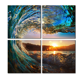 Wholesale Wave Panel Painting - 4 Panels HD Seascape Sea Wave Home Decor Wall Art Picture Digital Art Print Canvas Printed Picture for Living Room Dropship Wholesale