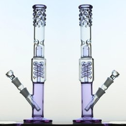 Wholesale Pipe Guard - Purple Water Pipe Spiral Coil Recycler Oil Rig Splash Guard Glass Bong Showerhead Percolator Downstem Glass Bubbler Dab Rig Bong Glass Pipe