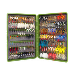 Wholesale Boxes For Ties - 168Pcs Wet Dry Fly Fishing Set Nymph Streamer Poper Emerger Flies Tying Kit Material Lures Fishing Box Tackle For Carp Trout