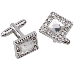 Wholesale Silver Cuff Links Square - Fashion Cufflinks For Mens 2017 High Quality Men Jewelry Enamel Gentleman Black Square Luxury Crystal Cuff Links Drop Shipping