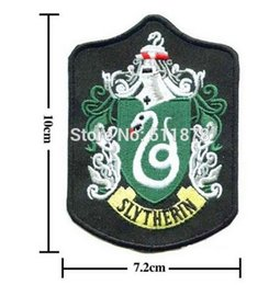 "Wholesale Harry Potter Crests - 4"" Slytherin HARRY POTTER School Badge CREST Patch Embroidered TV MOVIE Series Costume Emblem applique Halloween cosplay"