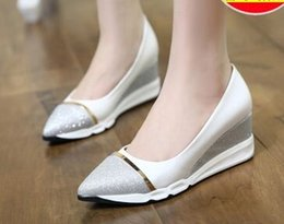 Wholesale White Glitter Tips - Wholesale New Arrival Hot Sale Specials Super Fashion Knight Star Sweety Mix Color Sequined Waterproof Wedge Tip Single Shoes EU34-39