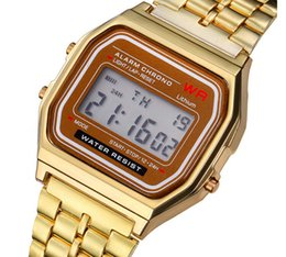 Wholesale Wholesale Mens Digital Watches - 100pcs F 91W LED Electronic Watch Mens Sports Watches Stainless Steel Digital Watches Students Date Digital Watch Wrist Watches For Mens