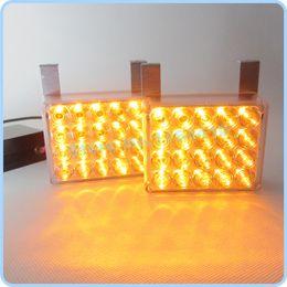 strobe leds Canada - 2 x 20 LED Car Truck Flashing Strobe Grill Emergency Flash Strobe Light Lamps Amber Color Free Shipping 40 LEDS