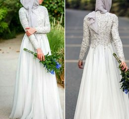Wholesale Islamic Formal Long Dress - 2017 Modest Muslim Evening Dresses Crew Neck Chiffon Long Sleeves Abaya Islamic Dubai Hijab Formal Evening Gowns Elegant White Prom Dresses