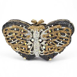 Wholesale Prom Clutch Bags - Wholesale- Stylish Butterfly Rhinestone Clutch Bag Luxury Crystal Evening bag for Prom Ladies Wedding Bridal Party Purse for Feast 88169