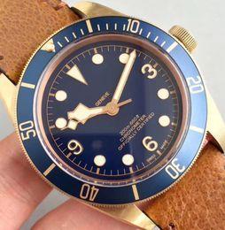 Wholesale Antique Brown - Top ZF Factory V2 Version Automatic ETA 2824 Bronze Watch Men Blue Dial Leather Chronometer Mens M79250BM 43mm Dive Sapphire Crystal Watches