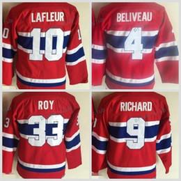 Wholesale Hockey Jersey Guy Lafleur - Youth Montreal Canadiens Throwback 4 Jean Beliveau 9 Maurice Richard 10 Guy Lafleur Jerseys Kids Vintage CCM 33 Patrick Roy Hockey Jersey
