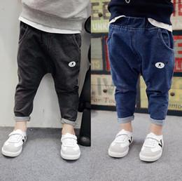 Wholesale Harem Jeans Boys - 2017 Autumn Boys Jeans Kids Cartoon Bear PP Pants Denim Harem Pants Children Boy Jeans Trousers Blue Black 13223