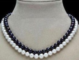 Wholesale Strands Black Pearls 9mm - Gorgeous Double Strands 8-9mm South Sea White + Black Pearl Necklace 18 Inch 19 Inch 925 Silver Clasp