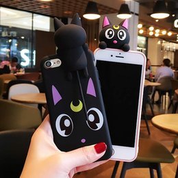 Wholesale Black Cat Silicone Case - New Cute Cartoon Sailor Moon Lovely Luna Cat Silicone Case cover For iPhone 7 7 Plus 6 6S 6 Plus Head Sound in Pinch