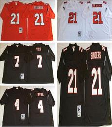 Wholesale Michael Manning - Throwback Atlanta 4 Brett Favre 7 Michael Vick 21 Deion Sanders White Black Home Away Stitched Jerseys