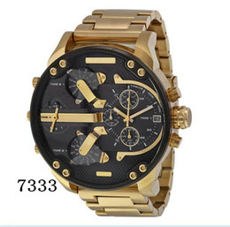 Wholesale Gold Watch Quartz Mens - Sports Mens Watches Big Dial Display Top Brand Luxury watch Quartz Watch Steel Band 7333 Fashion Wristwatches For Men 7315