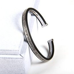 Wholesale Bangles Stainless Steel Beads - 1PCS High Grade Jewelry Open Cuff Sivler Bangles Men Women Double Raw Black Cz Beads Bracelets,Best Bangle Cuff Bracelets For Men
