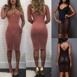 Wholesale See Clothes - New Designer arabic evening gown dresses for women clothing See Through Mesh Sexy bodycon dress V-Neck Sleeveless Spaghetti Strap