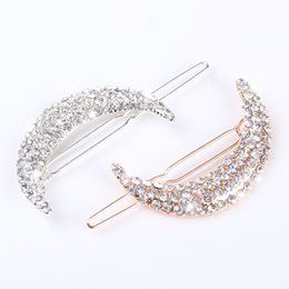 Wholesale Hair Clips Clamp Rhinestone - 2pcs Newest Crystal Moon Rhinestone Hair Accessories For Women Hair Clips For Girls Headdress Hairpin Clamps