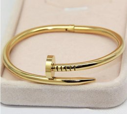 Wholesale Indian Men Bracelets - Titanium Steel Gold Women Cuff Nail Bangle Stainless Steel Brand Love Bracelet & Bangle For Women men bracekets Pulseiras high quality