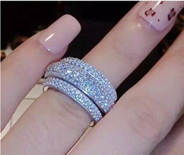 Wholesale Rings Fine Jewelry - Fine New Victoria Wieck Luxury Jewelry Full Tiny 5A Cubic Zirconia 925 Sterling Silver White Topaz Women Wedding Engagement Band Ring Gift