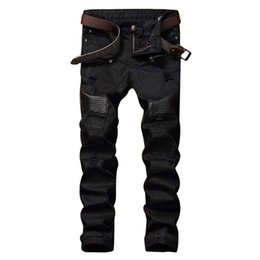 Wholesale Plus Size Patchwork - Wholesale- Fashion Designer Mens Ripped Biker Jeans Leather Patchwork Slim Fit Black Moto Denim Joggers For Male Distressed Jeans Pants