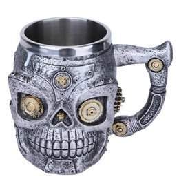 Wholesale Beer Gear - 3D Skull Mugs Double Wall Stainless Steel Coffee Tea Bottle Mug Skull Mechanical Gears Drinking Cup Milk Beer Cup Kitchen Gadget