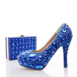 Wholesale Shoes Match Clutches - 2017 Blue Rhinestone Wedding Heels with Fashion Crystal Matching Bag Party High Heels with Clutch Bridal Shoes Lady Prom Pumps