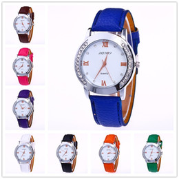 Wholesale Cute Watches For Men - Luxury Women watches Wrist watch Faux leather diamante Colorful Candy Cute quartz Exquisite Wristwatches For men women ANT3402