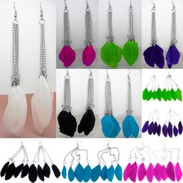 Wholesale Cool Feather Earrings - Feather Earrings 6 Colors wholesale lots Cute Charm Cool Chain Light Dangle Eardrop Hot (White Purple Green Deep Pink Sky Blue Black)(JF039)