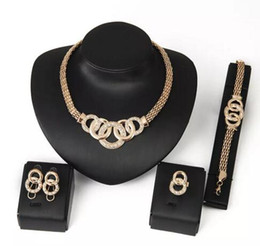 Wholesale Chunky Rings Women - 18K Gold Plated Rhinestone Chunky Chain Statement Necklace Bracelet Earrings Ring Vintage Women Bridal Wedding Party Jewelry Sets free shipp