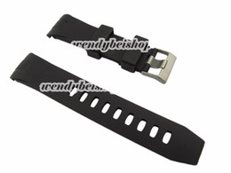 Wholesale Silicone Bracelet Watch For Ladies - Wholesale-22mm(20mm buckle) Men Lady High Quality Black Silicone Rubber Curved End Watch Strap for omewatchband Silver Brushed Pin Buckle