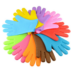Wholesale Silicone Pot Holders Oven Mitts - Kitchen Cooking Silicone Gloves Microwave Oven Non-slip Mitt Heat Resistant Silicone Gloves Cooking Baking BBQ gloves Pot Holder 20170704