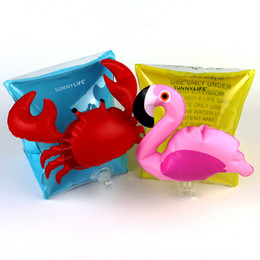 Wholesale black crab - Crab Flamingo Kids Inflatable arm band cartoon swimming armlet flamingo Crab Baby swim rings safty assistive tools