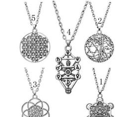 Wholesale Tibetan Silver Pentagrams - Tree Of Life Yggdrasil Flowers Pentacle Pentagram Pendant Wiccan Pagan Jewelry Tibetan Silver Mans necklace
