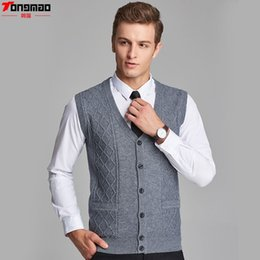 Wholesale cardigan sweater vest men - Men's Knitted V-neck Sleeveless Wool Striped Single Breasted Sweater Fashion Casual Solid Slim Vest