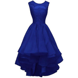 Wholesale High Fashion Dresses For Girls - Royal Blue High Low Cocktail Party Dresses Real Picture 2017 Fashion New Prom Party Gowns For Girls