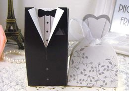 Wholesale Wedding Candy Boxes Wholesale - 2017 NEW Wedding candy box Bride Groom Wedding Bridal Favor best Gift Boxes 50 pairs  100pcs Gown Tuxedo TH2