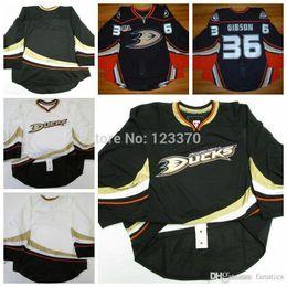 Wholesale Goalie Hockey - customize Anaheim Ducks jerseys goalie cut Jersey home black  away white   third orange jersey sewn on Any Name & NO. Size