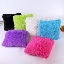 Wholesale Pillow Case Covers Red - 45*45cm soft fluffy plush cushion cover pillowcase back cushion covers lumbar pillow covers decorative case for pillow