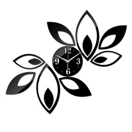 Wholesale Flower Wall Clocks - Wholesale- 2016 arrival hot room silver big flower quartz acrylic DIY wall clock modern design luxury 3d mirror clocks watch free shipping