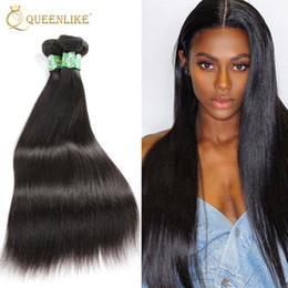 Wholesale Remy Hair Extensions Straight - Brazilian Virgin hair Weave Bundles Silk Silky Straight 1B Double wefts Raw Unprocessed Remy human hair extension Queenlike Silver 7A Grade