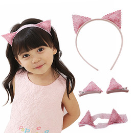 Wholesale Cat Hair Ribbon - Pink Handmade Embroidery Cat ears Hair bands Headband Lovely Hairpin Girls Crown air accessories Hair Ties -C