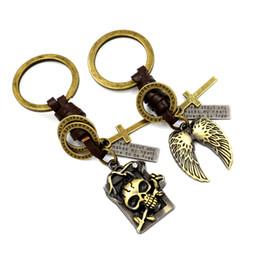 Wholesale Metal Rings Wings - Lovers' gifts Creative metal heart-shaped leather weave key Rings Fashion Angel wings Key chains Skeleton rose keyrings Key Accessories