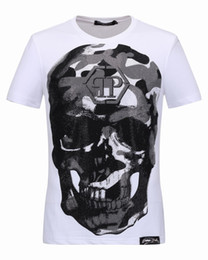 Wholesale Cartoon Shorts For Men - New Brand T-shirts for Men Large Skull with crystals 3D Printed Polo t shirts luxury Short Sleeve Male Sports Tee Shirt 18233