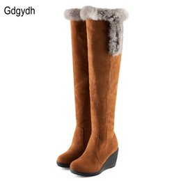 Wholesale Black Tall Wedge Snow Boots - Wholesale-2016 New Arrival Winter Boots Women Rabbit Fur Over The Knee High Snow Boots Wedges Thermal Tall Cotton-padded Shoes Size 34-43