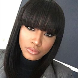 celebrity hair bangs 2018 - Human Hair Bob Wig With Bangs Celebrity Lace Front Human Hair Bob Wig With Bangs Virgin Bob Wig With Natural Hairline