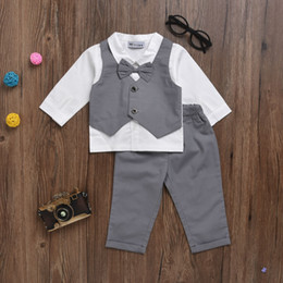 Wholesale Cotton Down Vests - 2017 Kids Baby Boy Clothes Suit Vest+bow Shirt Romper+Pants Fake 2 Pieces Formal Gentleman Wedding Clothing Set Age 0-2Y
