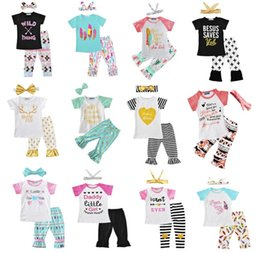 Wholesale Zebra Suits - Newest Girls Childrens Clothing Sets Short Sleeve tshirts Pants Headwear 3 Piece Set Letters Arrow Kids Clothes Suits Boutique Clothing
