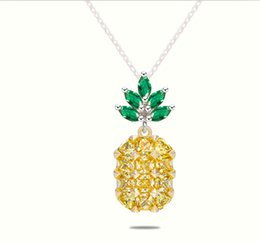 Wholesale Crystal Fruit Plate - 2017 summer pineapple necklace for women zircon cz gems pineapple fruit pendant necklace silver plated crystal necklace fashion jewelry